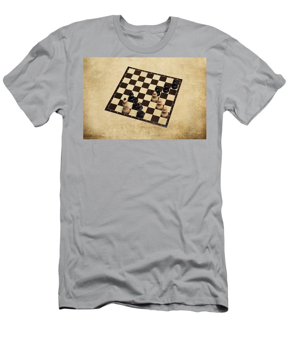 Chess Men's T-Shirt (Athletic Fit) featuring the photograph Immortal Chess - Kasparov Vs Topalov 1999 by Alexander Senin