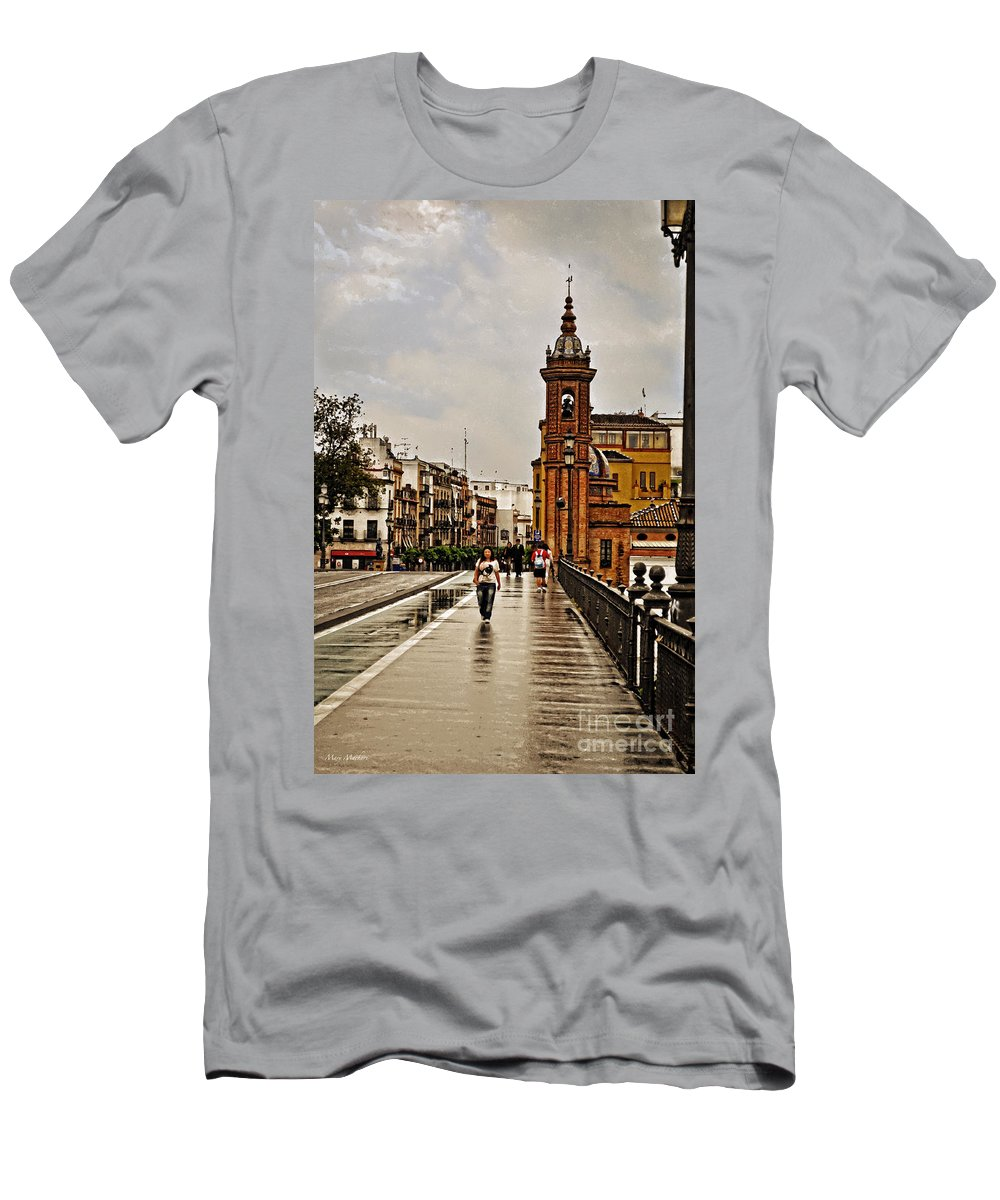 In The Rain - Puente De Triana Men's T-Shirt (Athletic Fit) featuring the photograph In The Rain - Puente De Triana by Mary Machare