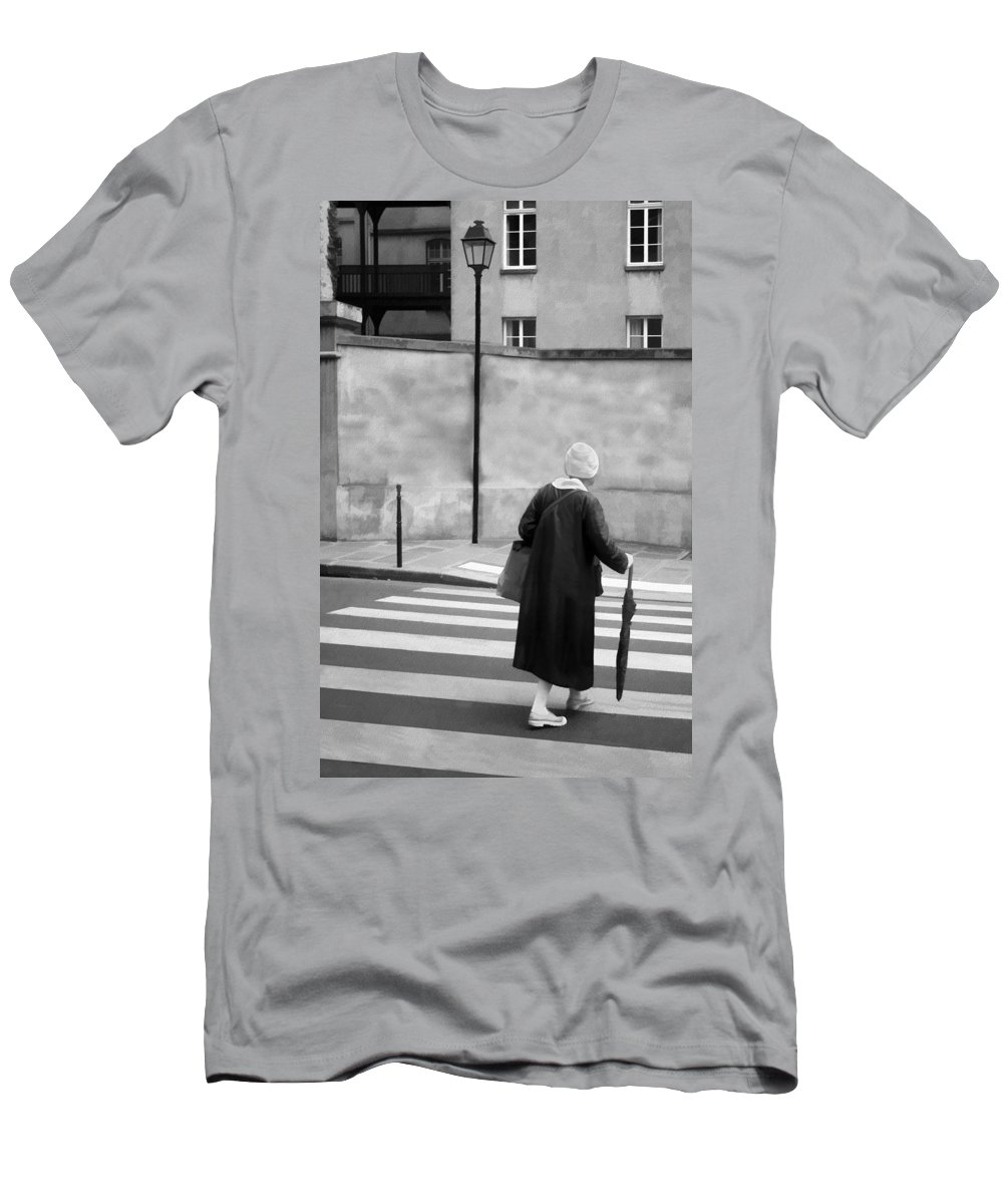 Crosswalk Men's T-Shirt (Athletic Fit) featuring the photograph Independence - Street Crosswalk - Woman by Nikolyn McDonald