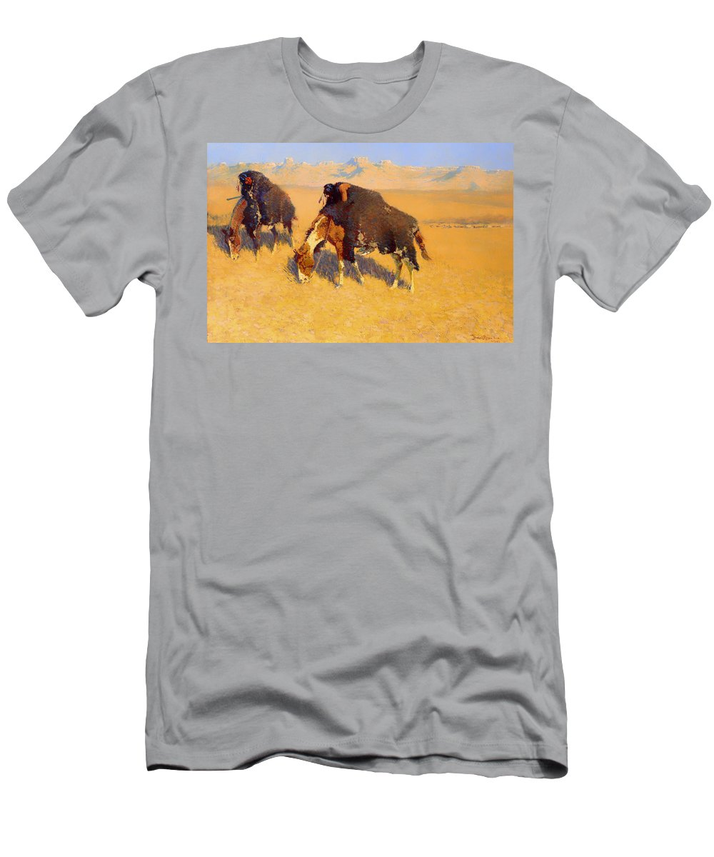 Painting Men's T-Shirt (Athletic Fit) featuring the painting Indians Simulating Buffalo by Mountain Dreams