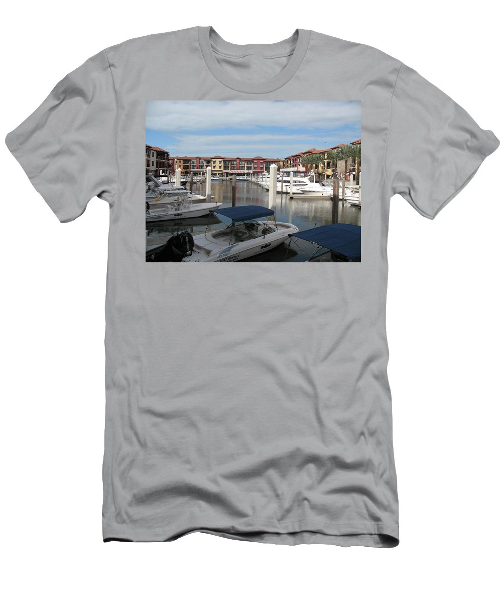 Buildings Men's T-Shirt (Athletic Fit) featuring the photograph Inner Harbor - Naples by Christiane Schulze Art And Photography