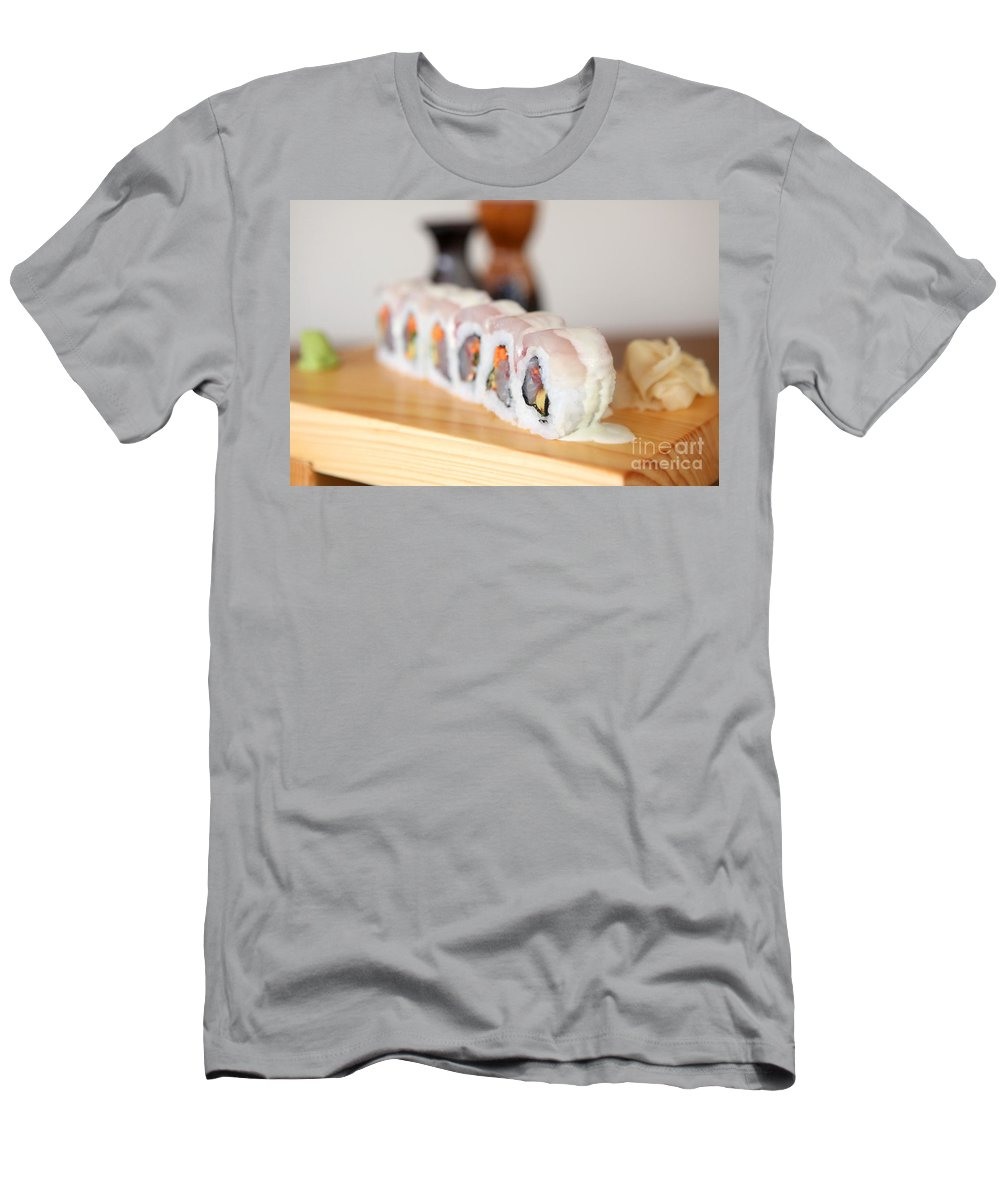 Inside Out Men's T-Shirt (Athletic Fit) featuring the photograph Inside Out Tuna Sushi by Oren Shalev