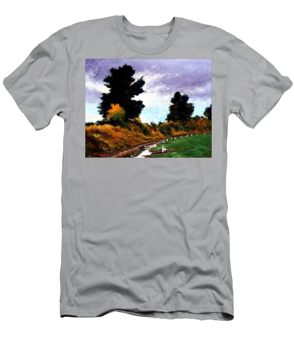 Landscape T-Shirt featuring the painting Inside the Dike by Jim Gola