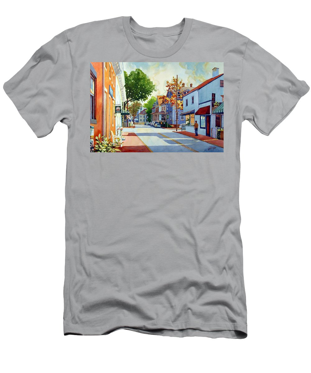 Watercolor Men's T-Shirt (Athletic Fit) featuring the painting Intersection by Mick Williams