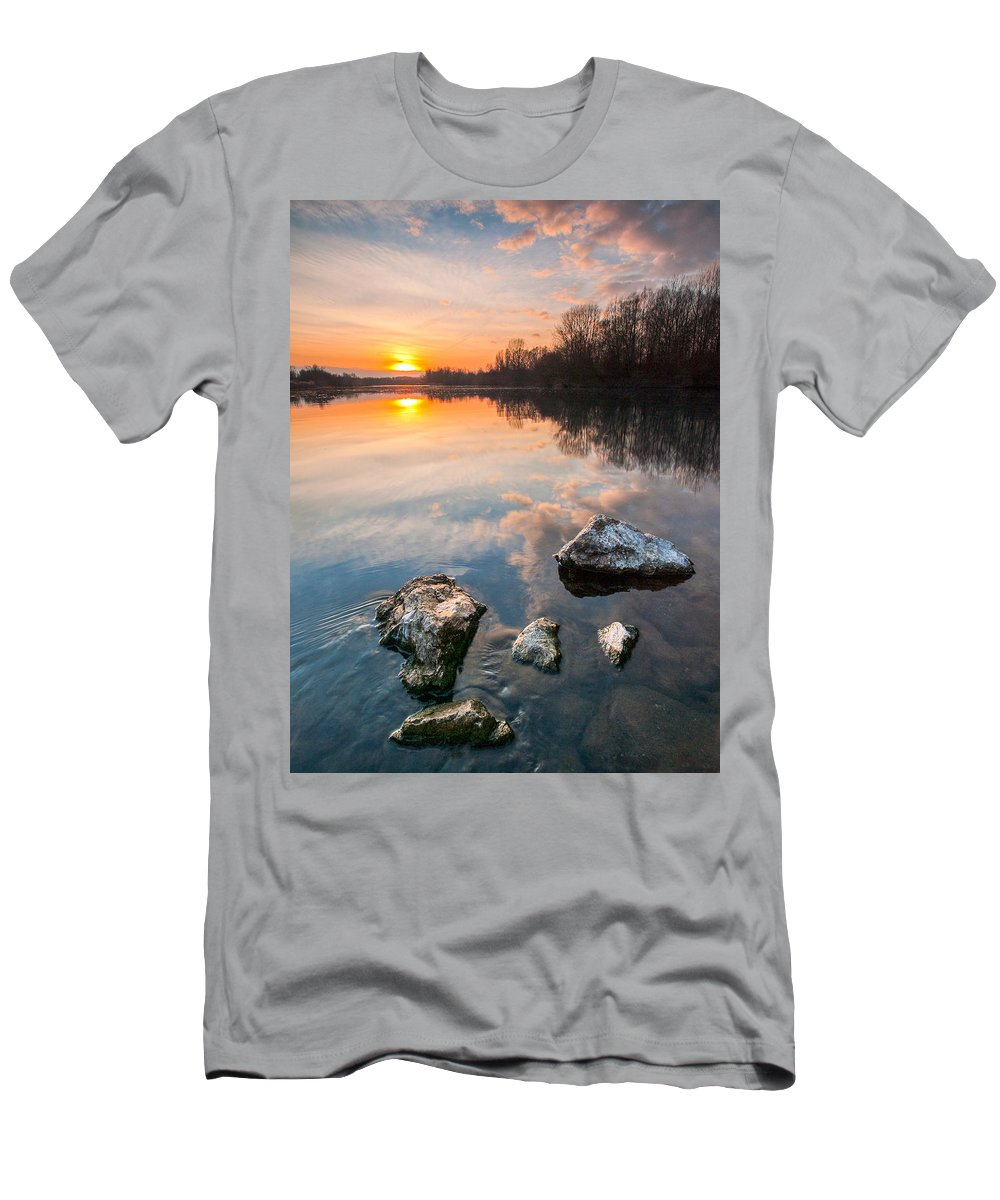 Landscapes Men's T-Shirt (Athletic Fit) featuring the photograph Into The Sunset by Davorin Mance