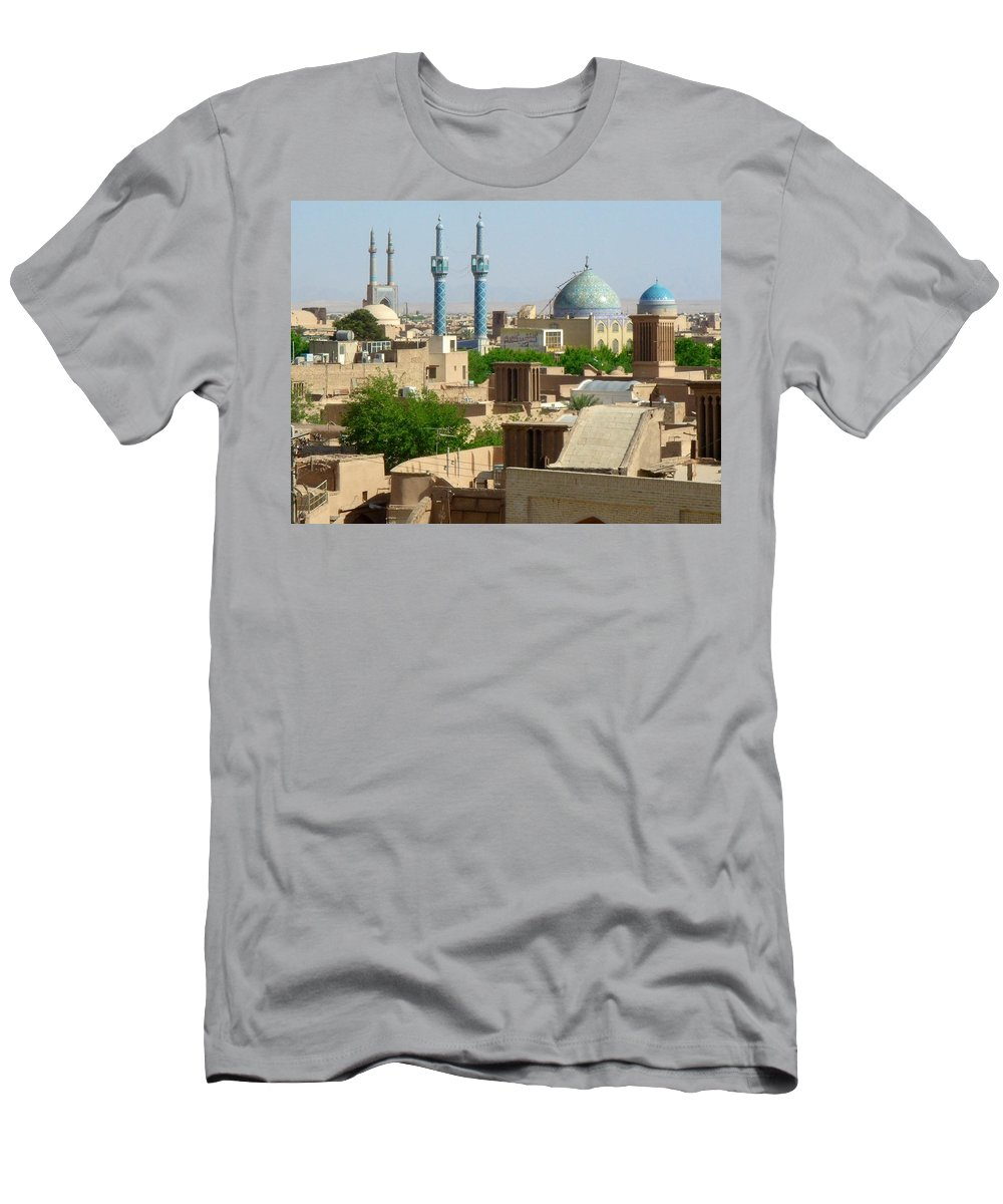 Yazd Men's T-Shirt (Athletic Fit) featuring the photograph Iran Yazd From The Rooftops by Lois Ivancin Tavaf