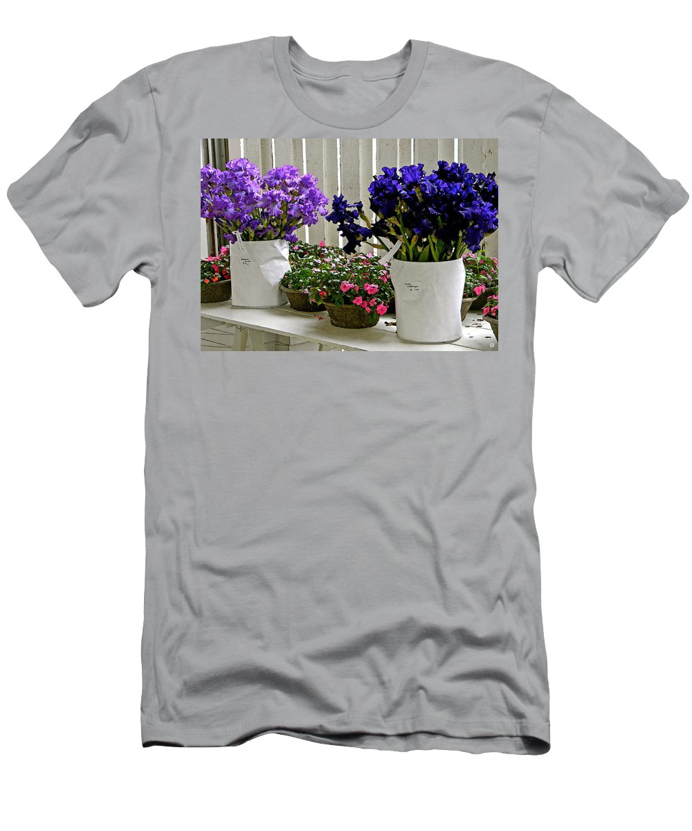 Irises Men's T-Shirt (Athletic Fit) featuring the digital art Irises And Impatiens by Gary Olsen-Hasek