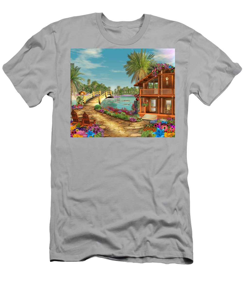 Art Licensing Men's T-Shirt (Athletic Fit) featuring the mixed media Island Dreams by Caplyn Dor