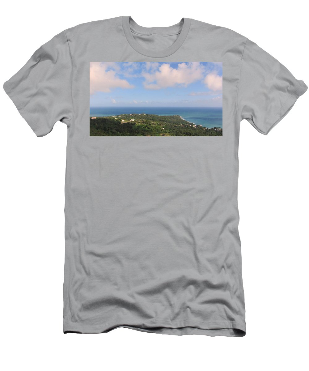 Beach Men's T-Shirt (Athletic Fit) featuring the photograph Island View From High by Anita Burgermeister
