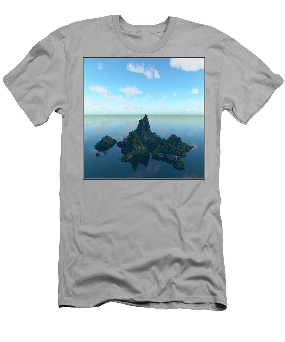 Isle Men's T-Shirt (Athletic Fit) featuring the digital art Isle And Sea... by Tim Fillingim