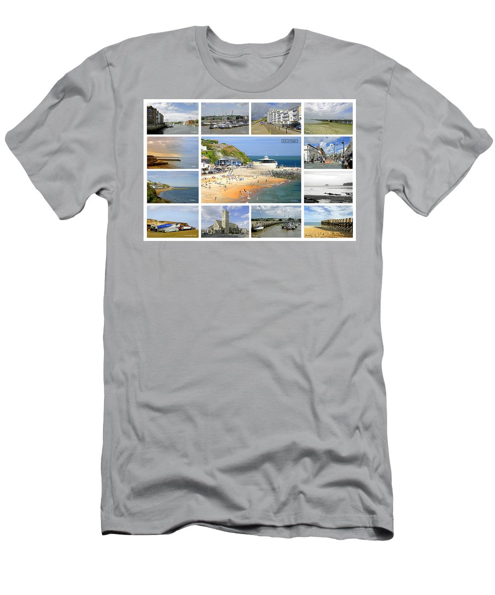 Europe Men's T-Shirt (Athletic Fit) featuring the photograph Isle Of Wight Collage - Labelled by Rod Johnson