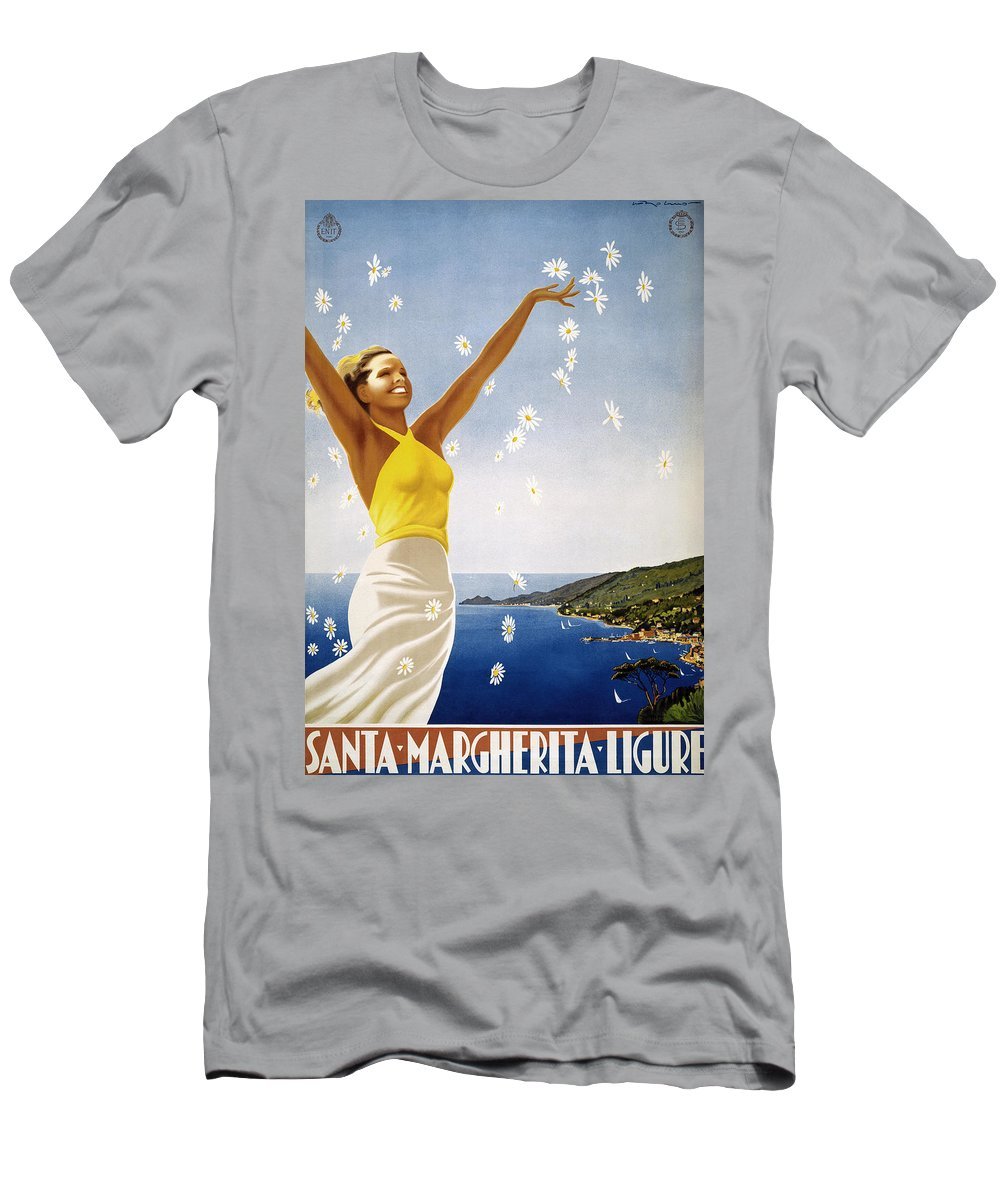 1951 Men's T-Shirt (Athletic Fit) featuring the photograph Italian Travel Poster, 1951 by Granger