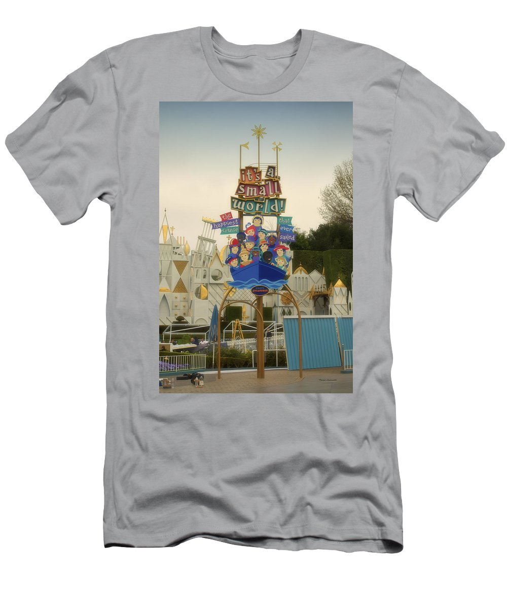 Disney Men's T-Shirt (Athletic Fit) featuring the photograph Its A Small World Fantasyland Signage Disneyland by Thomas Woolworth