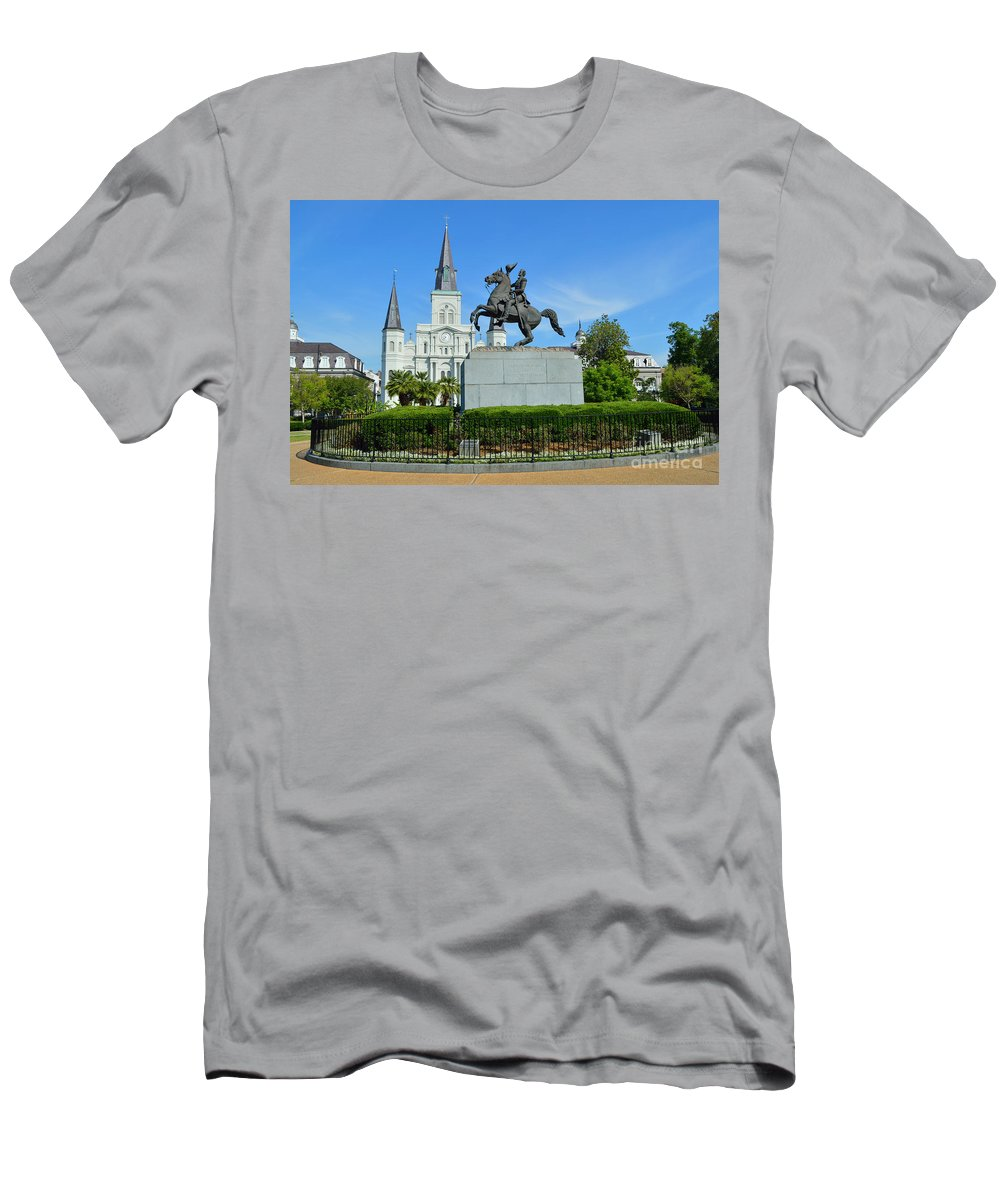St. Louis Cathedral Men's T-Shirt (Athletic Fit) featuring the photograph Jackson Square 1 by Alys Caviness-Gober