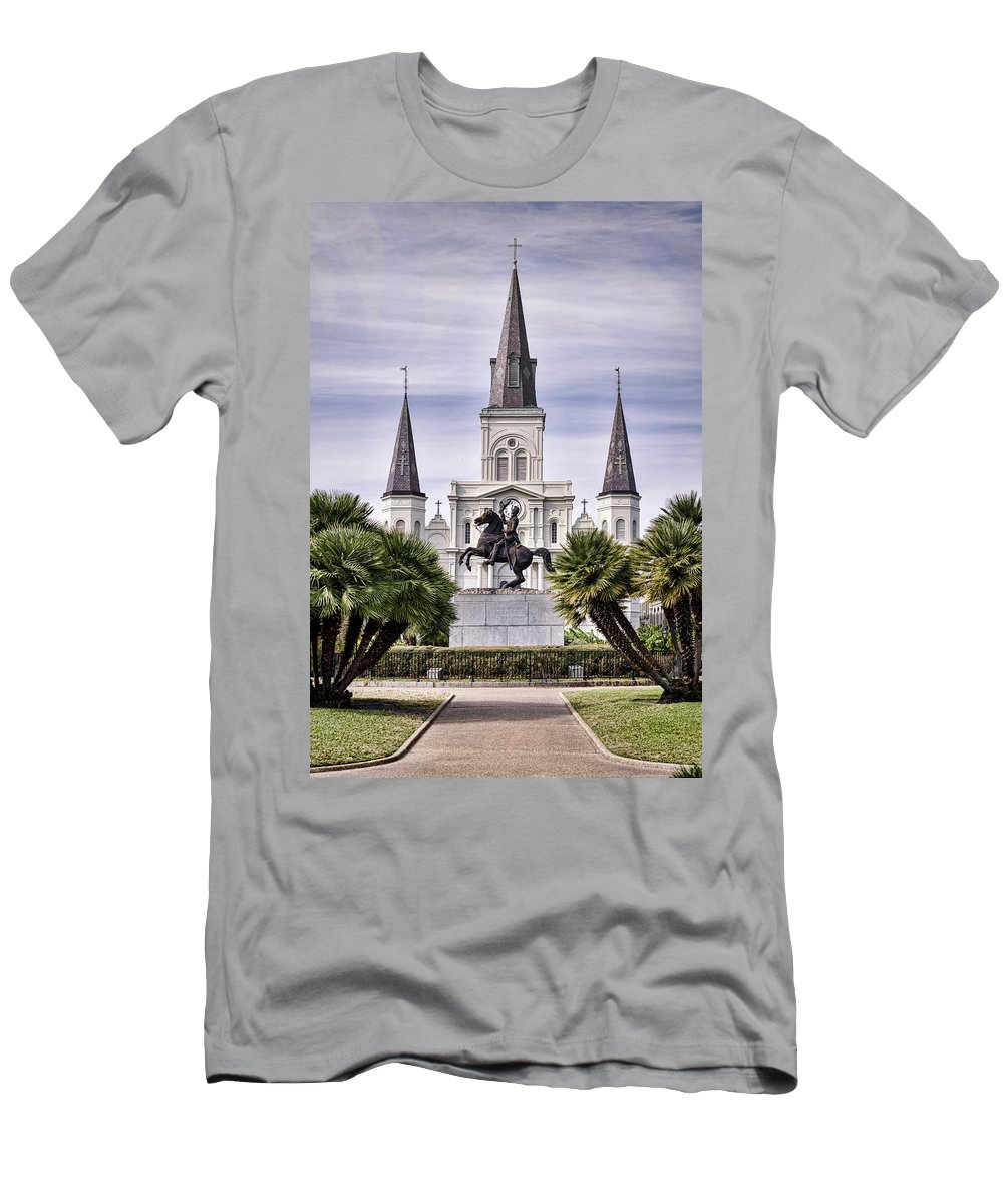 Saint Louis Cathedral Men's T-Shirt (Athletic Fit) featuring the photograph Jackson Square by Heather Applegate