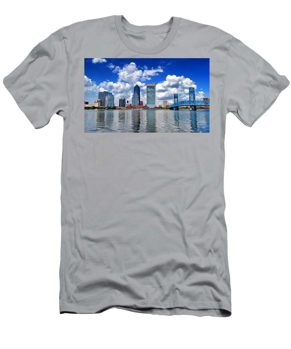 Jacksonville Men's T-Shirt (Athletic Fit) featuring the photograph Jacksonville Skyline by Mountain Dreams