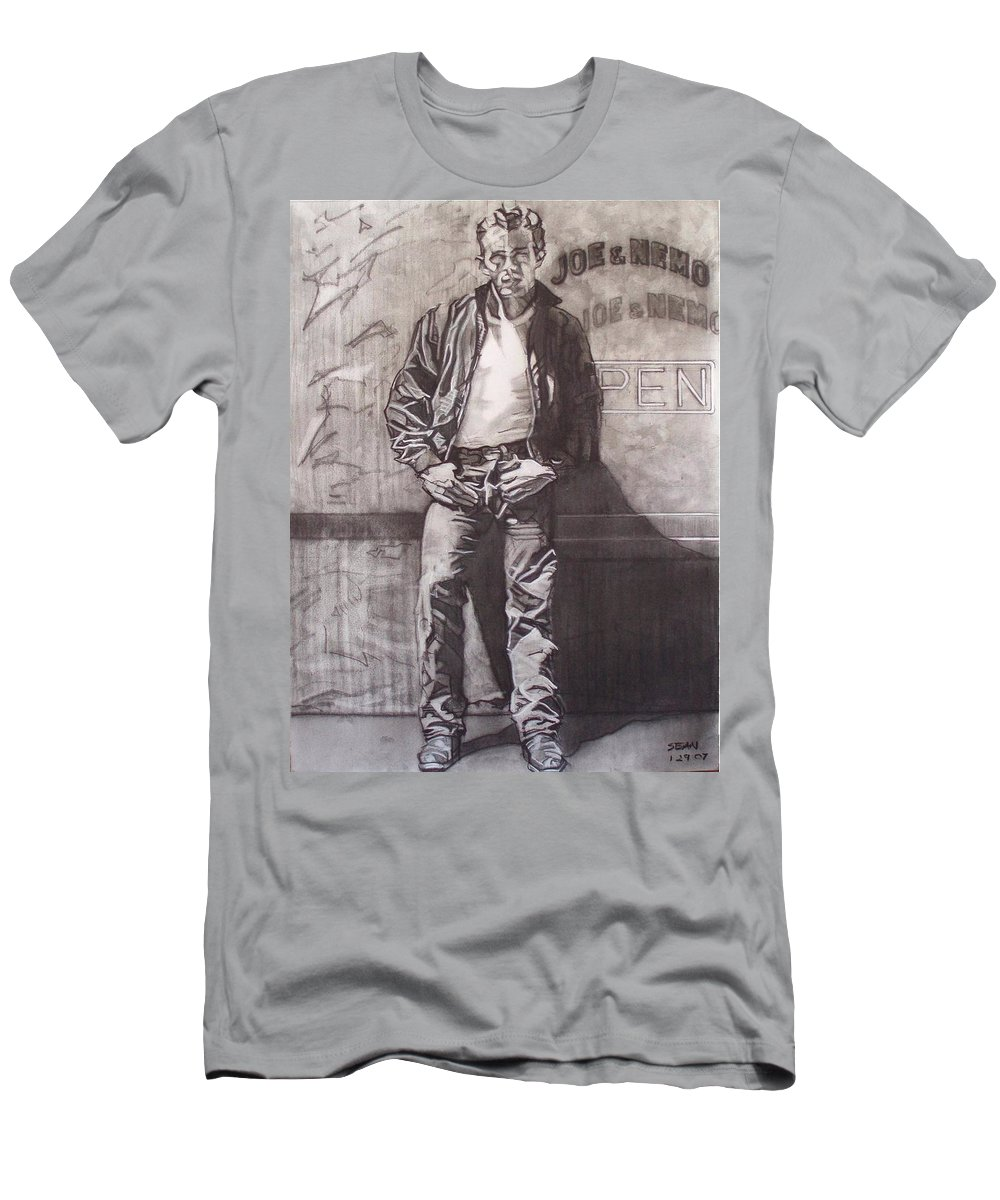 Charcoal; Icon;americana;cool;window;sidewalk;street;rock And Roll;jeans;t-shirt;diner;movie Star Men's T-Shirt (Athletic Fit) featuring the drawing James Dean by Sean Connolly