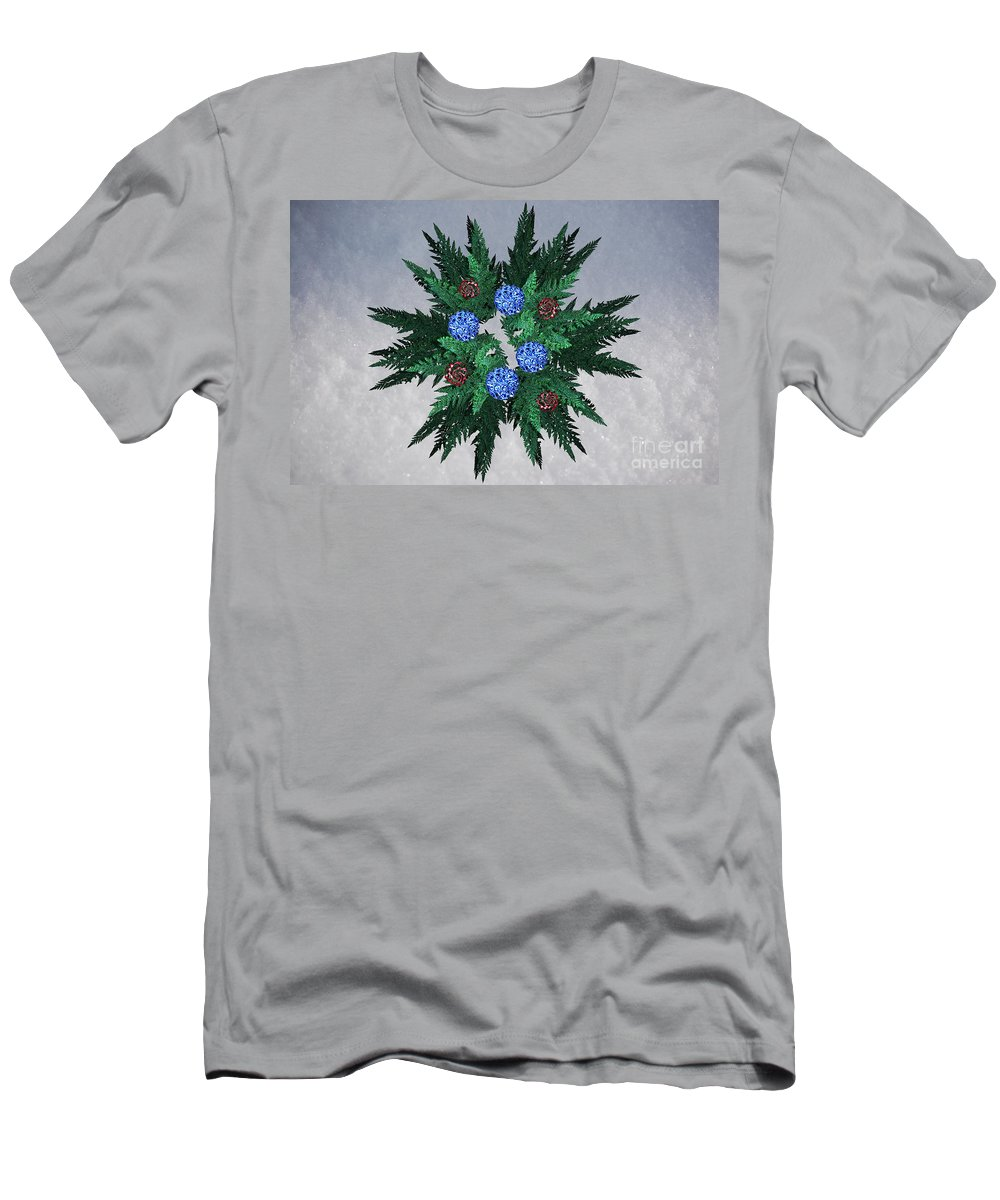 First Star Art Men's T-Shirt (Athletic Fit) featuring the digital art Jammer Blue Red Snow Wreath by First Star Art