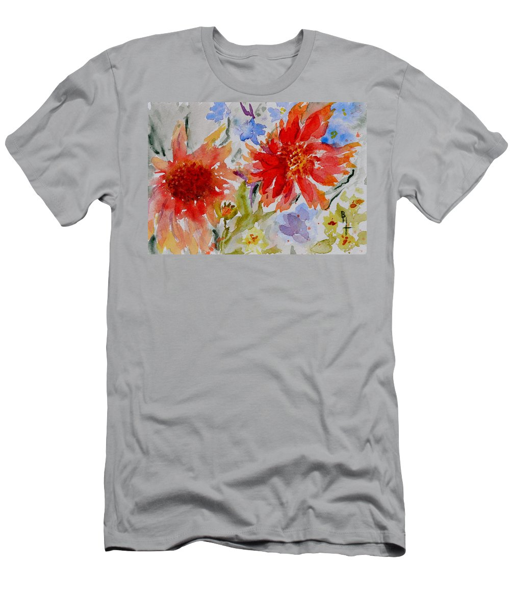 Flowers Men's T-Shirt (Athletic Fit) featuring the painting Jann's Gaillardia by Beverley Harper Tinsley