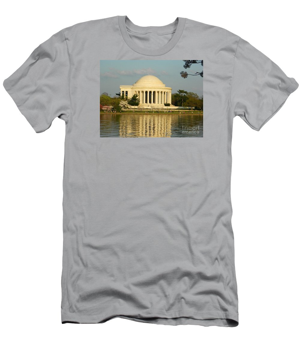 Jefferson Memorial At Sunset Men's T-Shirt (Athletic Fit) featuring the photograph Jefferson Memorial At Sunset by Emmy Vickers