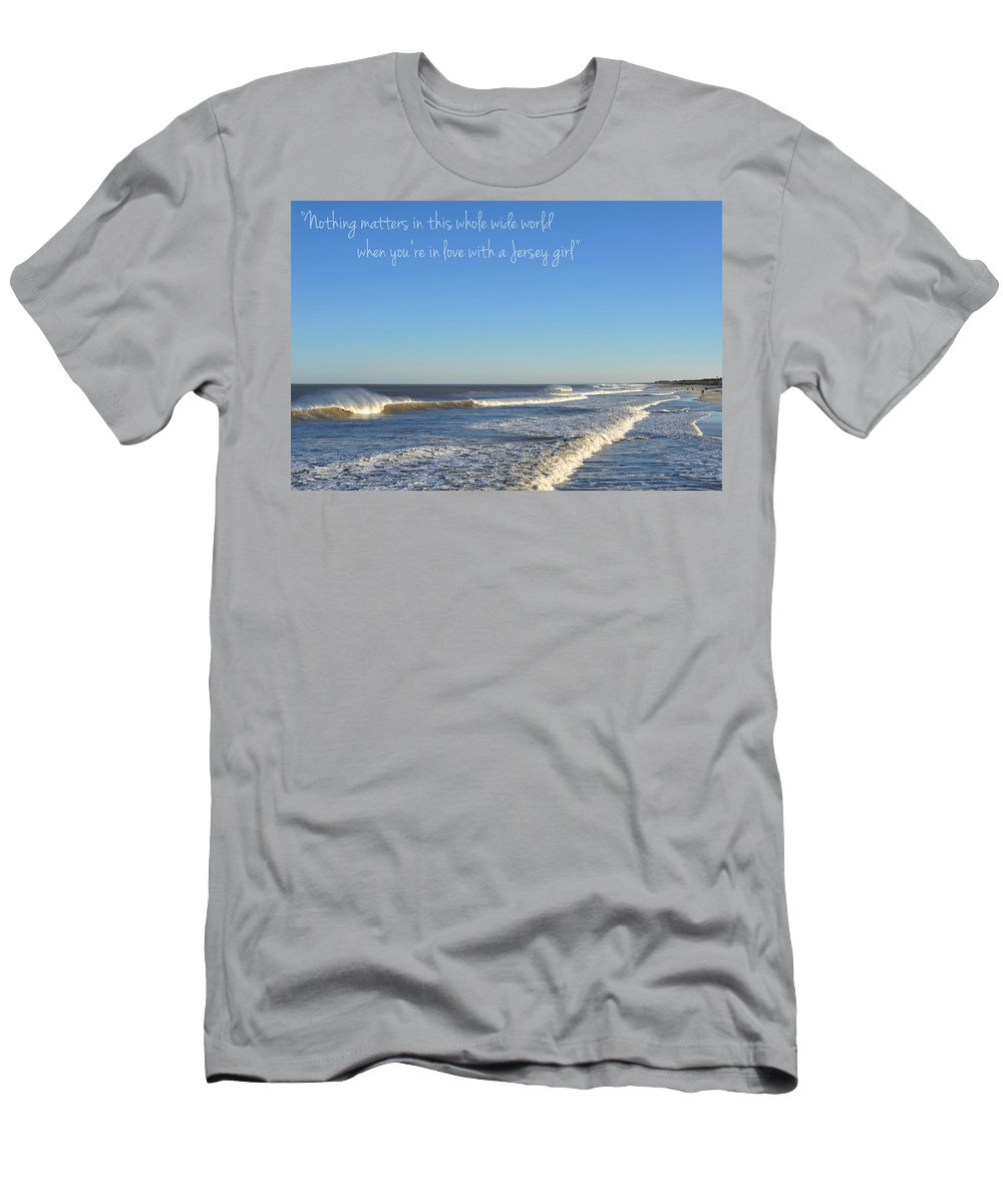 Jersey Girl Men's T-Shirt (Athletic Fit) featuring the photograph Jersey Girl Seaside Heights Quote by Terry DeLuco