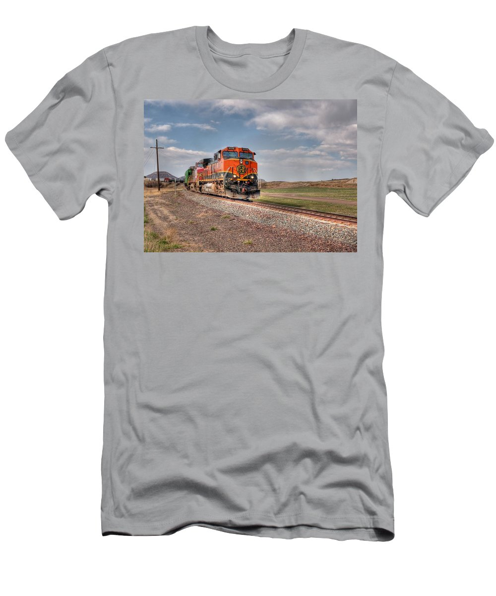 Steam Train Photographs Men's T-Shirt (Athletic Fit) featuring the photograph Joint Line Mixed by Ken Smith