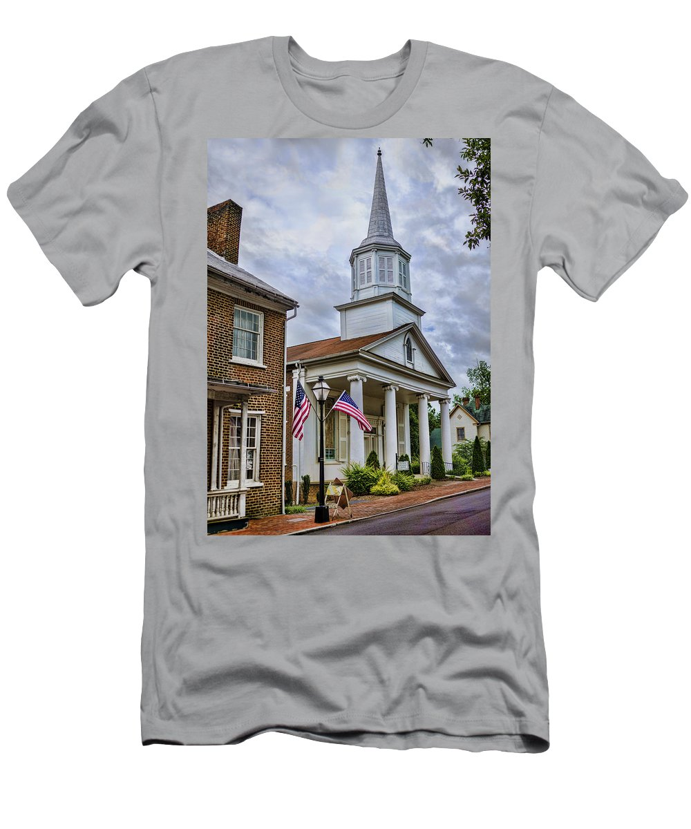 Jonesboro Men's T-Shirt (Athletic Fit) featuring the photograph Jonesboro Methodist Church by Heather Applegate
