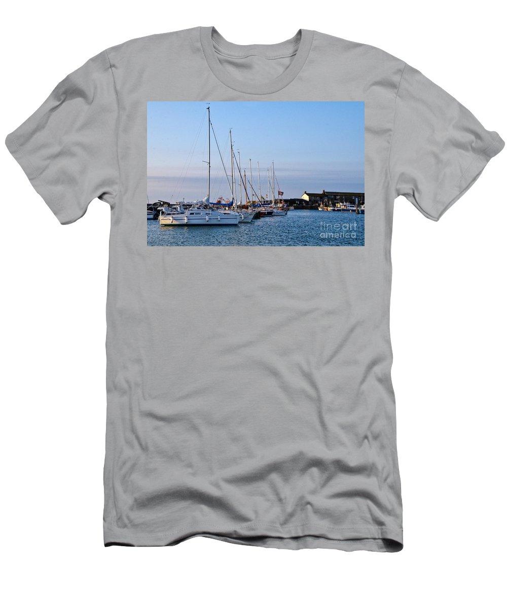 Lyme Regis Men's T-Shirt (Athletic Fit) featuring the photograph June Morning - Lyme Regis Harbour by Susie Peek