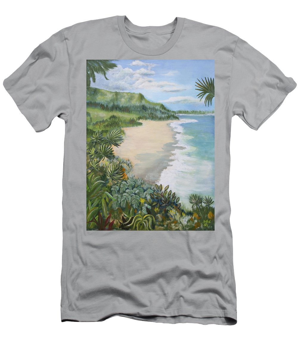 Beach Men's T-Shirt (Athletic Fit) featuring the painting Jungle Waves by Gladys Berchtold