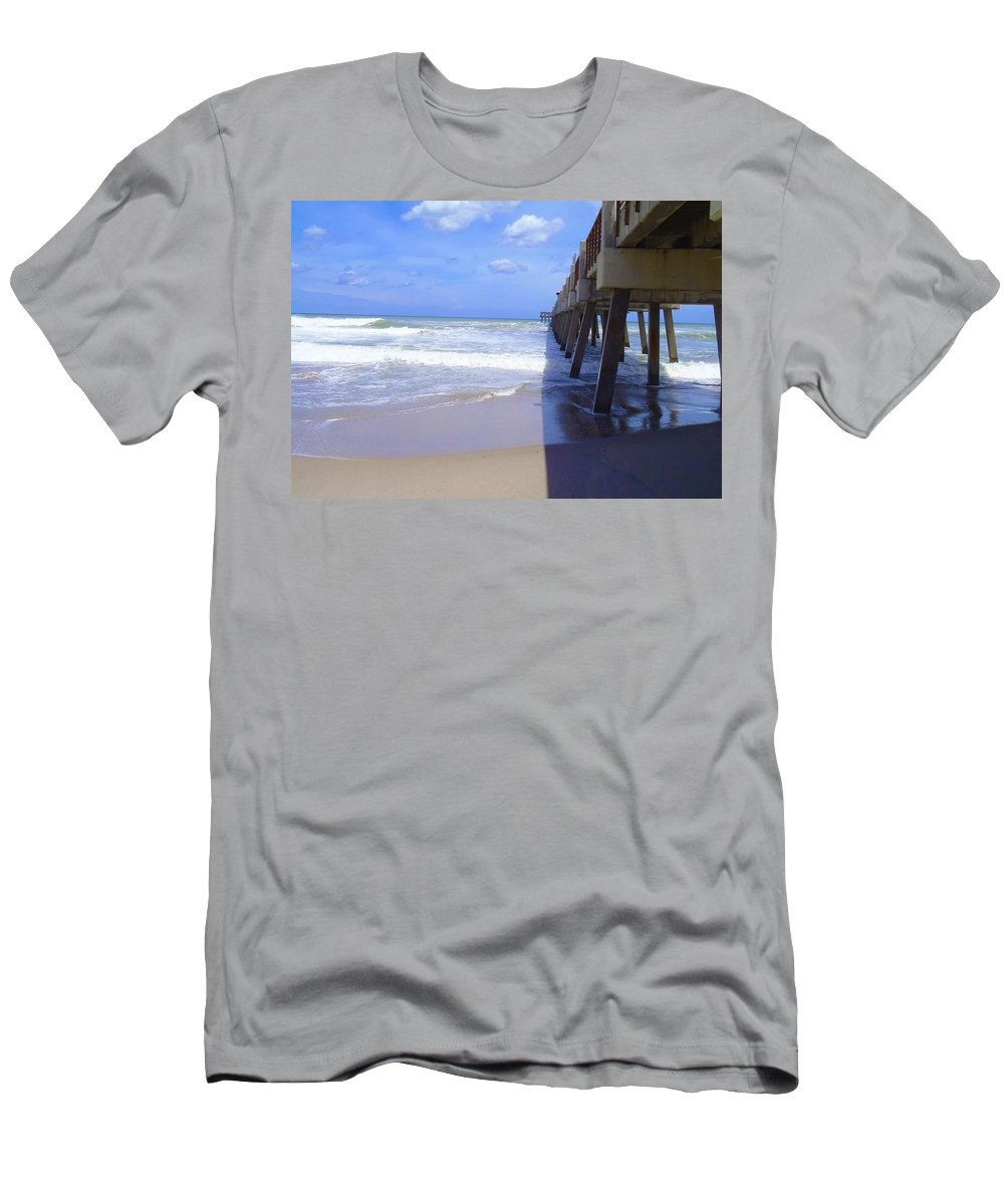 Juno Beach Men's T-Shirt (Athletic Fit) featuring the photograph Juno Pier by Carey Chen