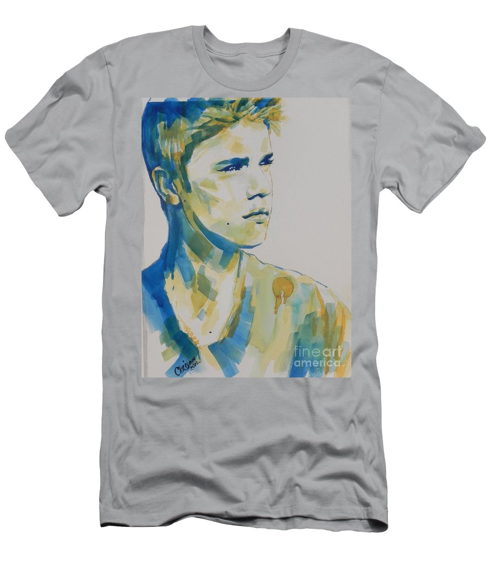 Watercolor Painting Men's T-Shirt (Athletic Fit) featuring the painting Justin Bieber by Chrisann Ellis