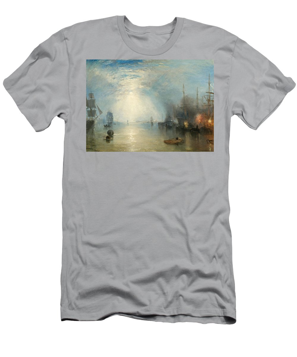 Shipping; Industry; Coal; Fire; Night; Moon; Sailing; Sail; Boat; Burning; Coal; Kealboat; Keels; Cargo Men's T-Shirt (Athletic Fit) featuring the painting Keelmen Heaving In Coals By Moonlight by Joseph Mallord William Turner
