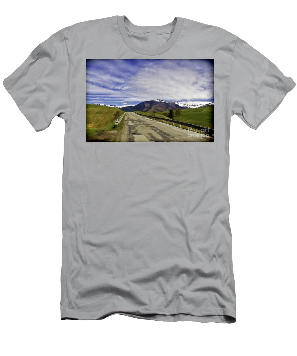 Blue Men's T-Shirt (Athletic Fit) featuring the photograph Keep On Trucking by Les Palenik