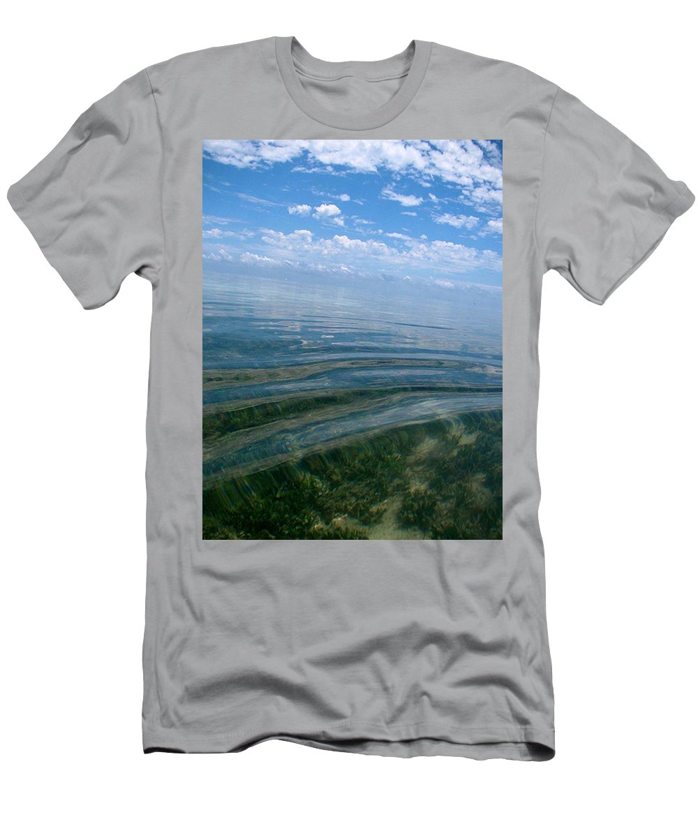 Water Ocean See Through Clear Water Blue Landscape Beach Wave Peace Relax Keys Florida Nature Men's T-Shirt (Athletic Fit) featuring the photograph Keys by AR Annahita