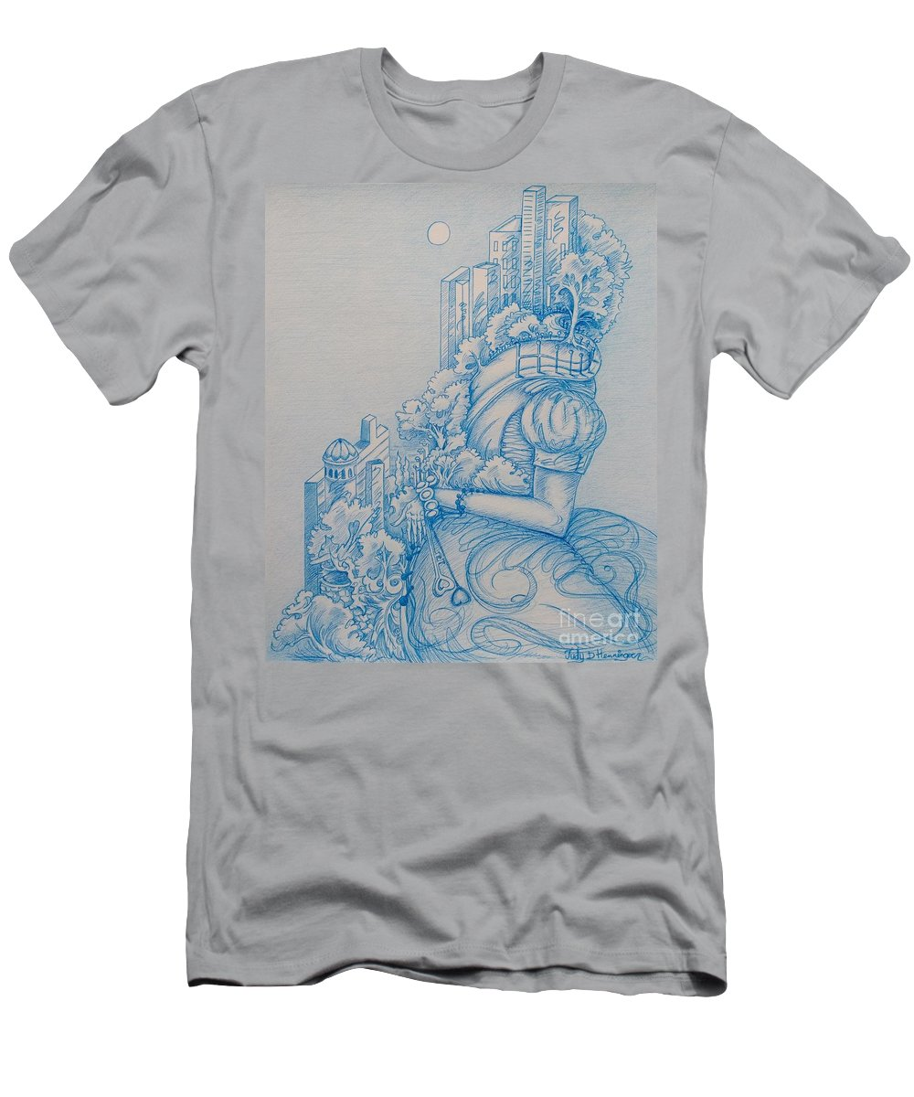 City Life T-Shirt featuring the drawing Keys To The City by Judy Henninger