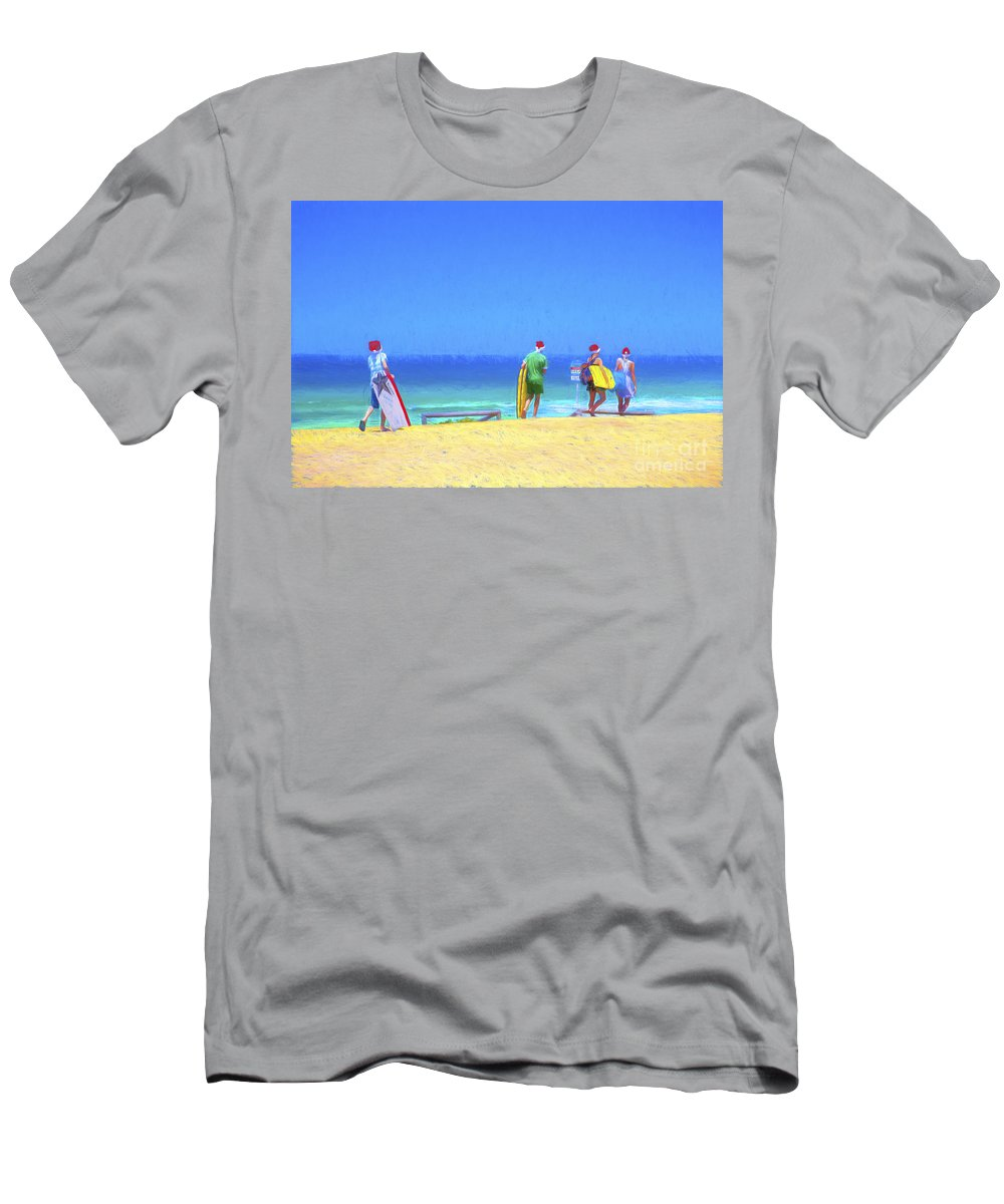 Children In Santa Hats T-Shirt featuring the photograph Kids in santa hats at beach by Sheila Smart Fine Art Photography