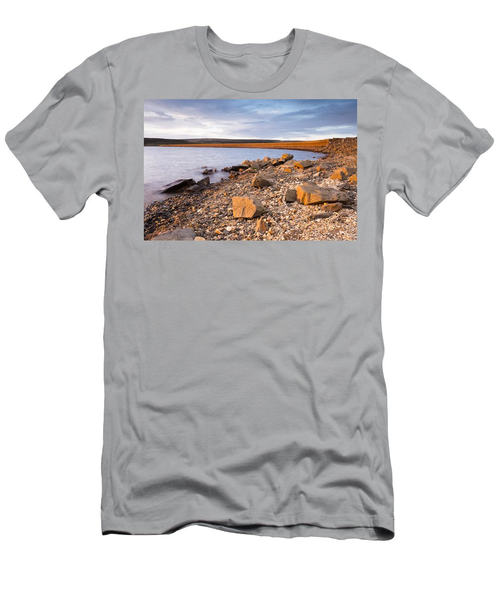 Northumberland Men's T-Shirt (Athletic Fit) featuring the photograph Kielder Dam In Low Sun by David Head
