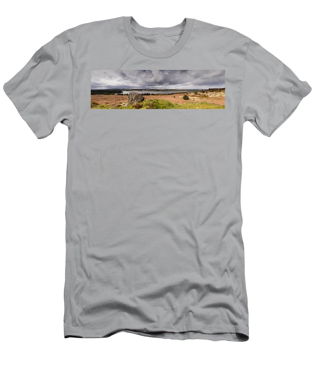Northumberland Men's T-Shirt (Athletic Fit) featuring the photograph Kielder Water Panorama by David Head