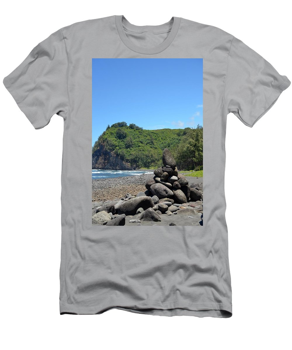 Kona Men's T-Shirt (Athletic Fit) featuring the photograph Kona Coast Rock Stack by Amy Fose