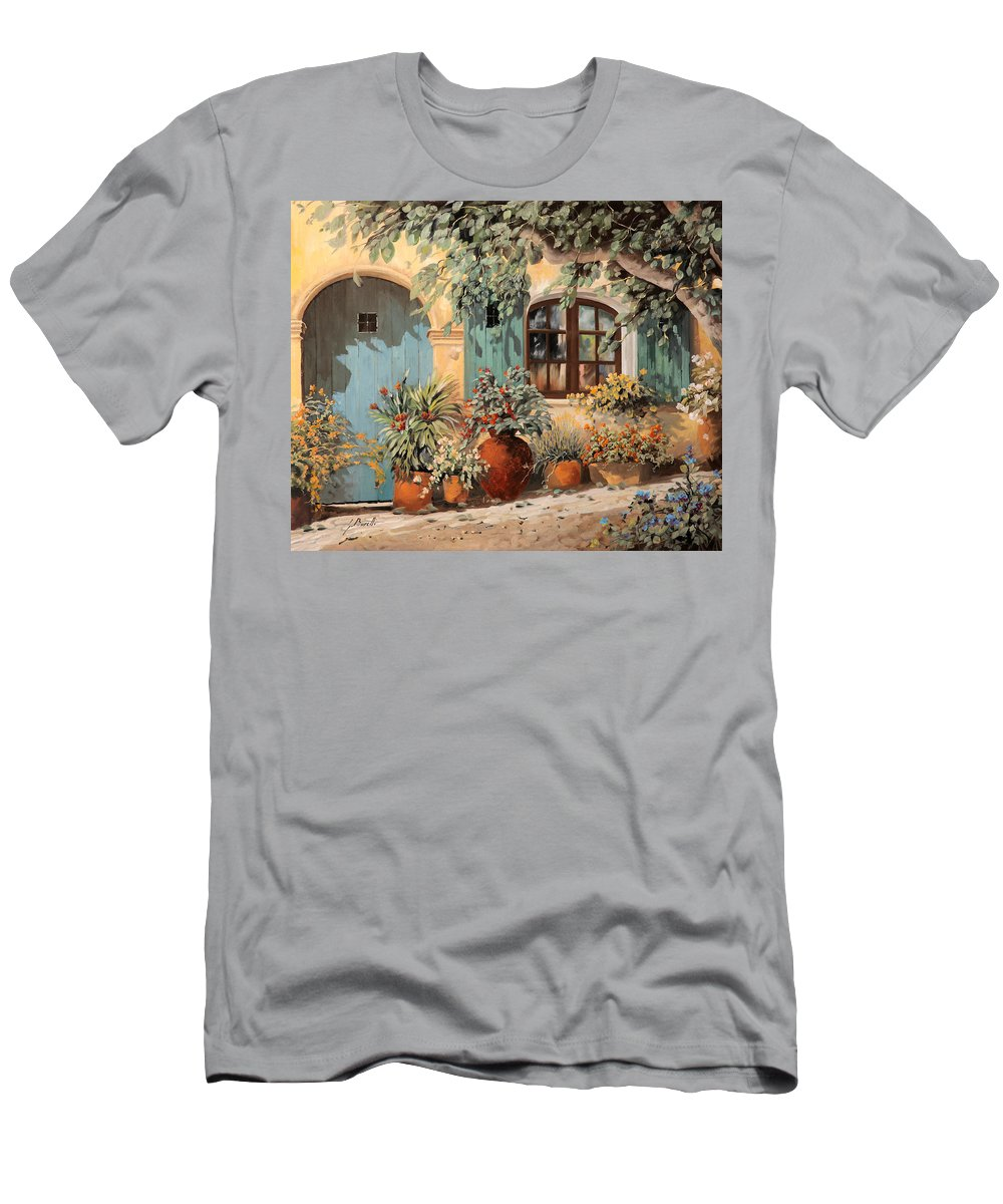 Blue Door Men's T-Shirt (Athletic Fit) featuring the painting La Porta Azzurra by Guido Borelli