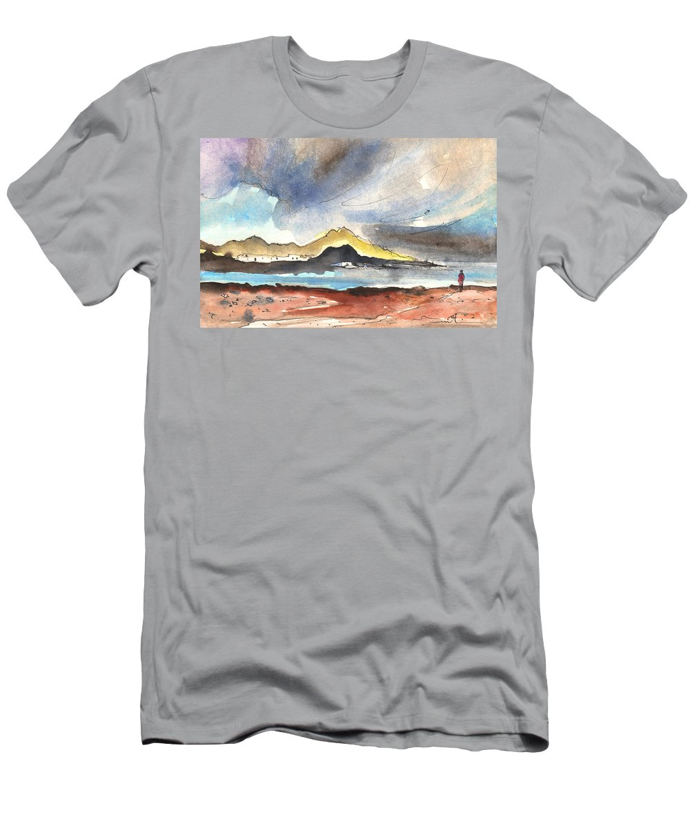 Travel Men's T-Shirt (Athletic Fit) featuring the painting La Santa In Lanzarote 01 by Miki De Goodaboom