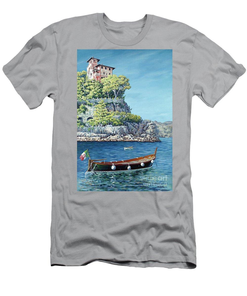 Portofino Men's T-Shirt (Athletic Fit) featuring the painting La Vie En Rose by Danielle Perry
