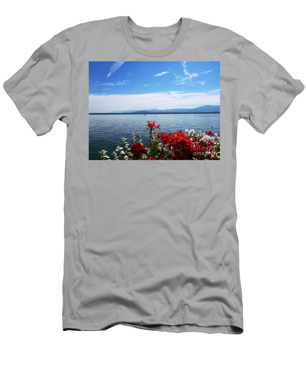 Lake Men's T-Shirt (Athletic Fit) featuring the photograph Lac Leman - Switzerland by Cristina Stefan
