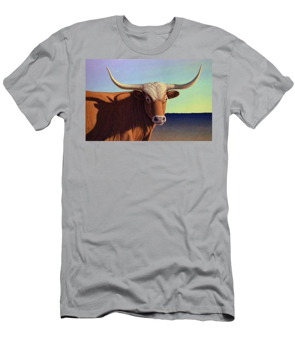 Lady Longhorn Men's T-Shirt (Athletic Fit) featuring the painting Lady Longhorn by James W Johnson