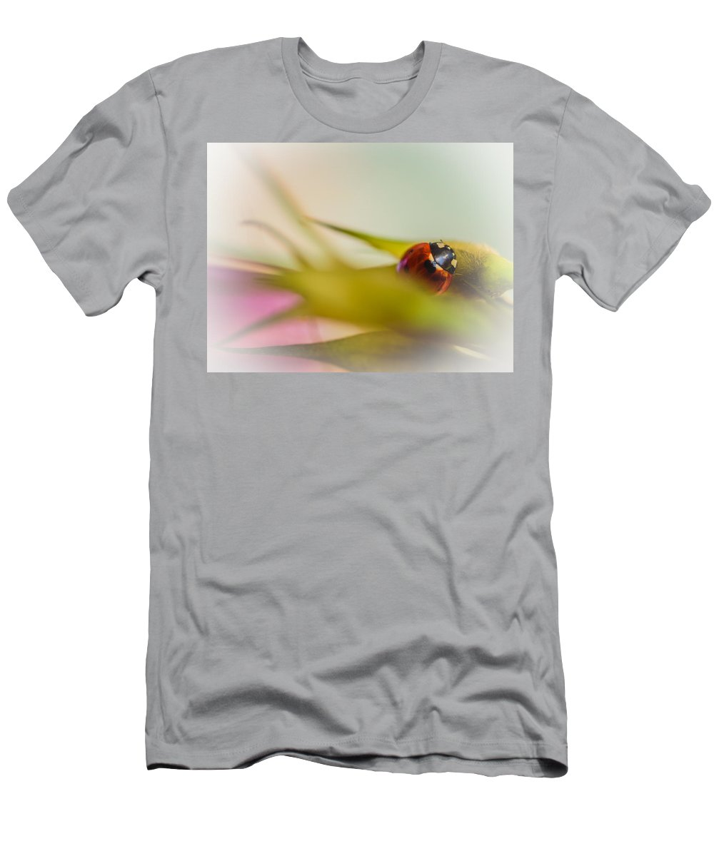 Red Men's T-Shirt (Athletic Fit) featuring the photograph Ladybug II by Marco Oliveira