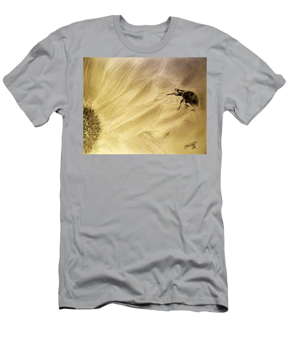 Ladybug Men's T-Shirt (Athletic Fit) featuring the drawing Ladybug On A Sunflower by Jose A Gonzalez Jr