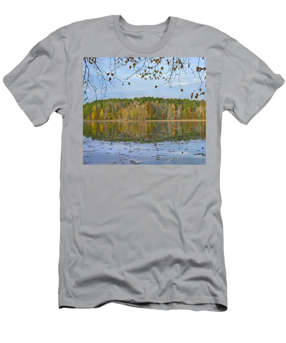 Feb0514 Men's T-Shirt (Athletic Fit) featuring the photograph Lake Bailey Petit Jean State Park by Tim Fitzharris