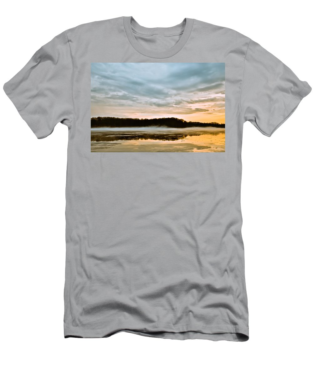 Youngstown Ohio Lake Hamilton Water Fog Sunset Sunrise Clouds Taaffe Hdr Nature Wildlife Men's T-Shirt (Athletic Fit) featuring the photograph Lake Hamilton by Jimmy Taaffe