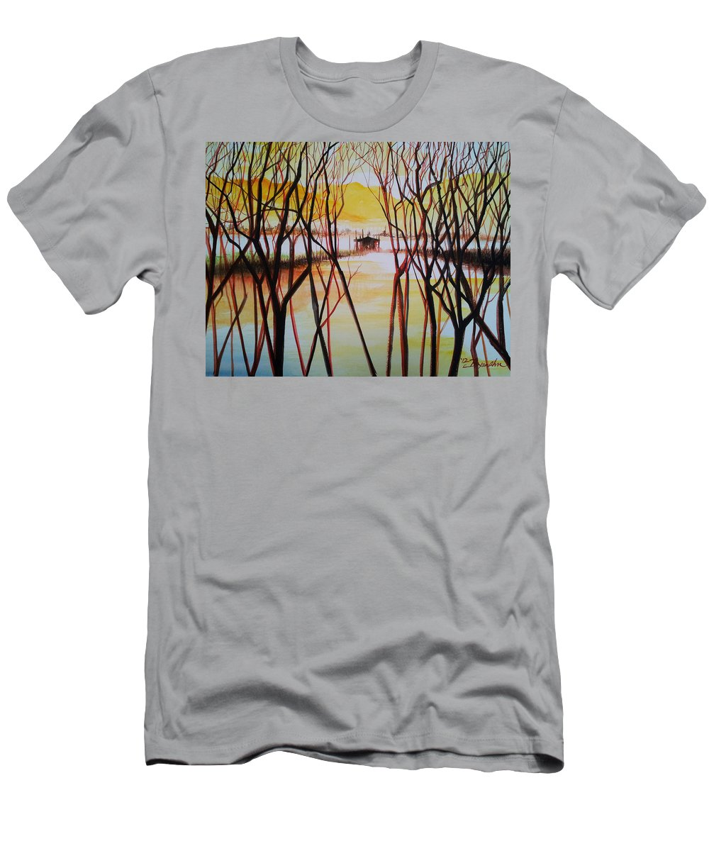 Landscape Men's T-Shirt (Athletic Fit) featuring the painting Lake In The Morning by Bryan Ahn