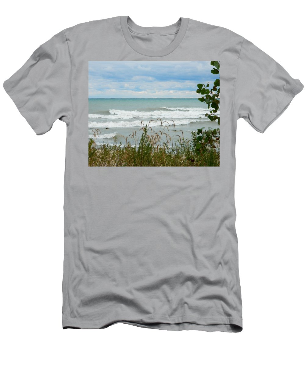Shoreline Of Lake Michigan In Racine Wisconsin Men's T-Shirt (Athletic Fit) featuring the photograph Lake Michigan In Racine by Terri Waselchuk